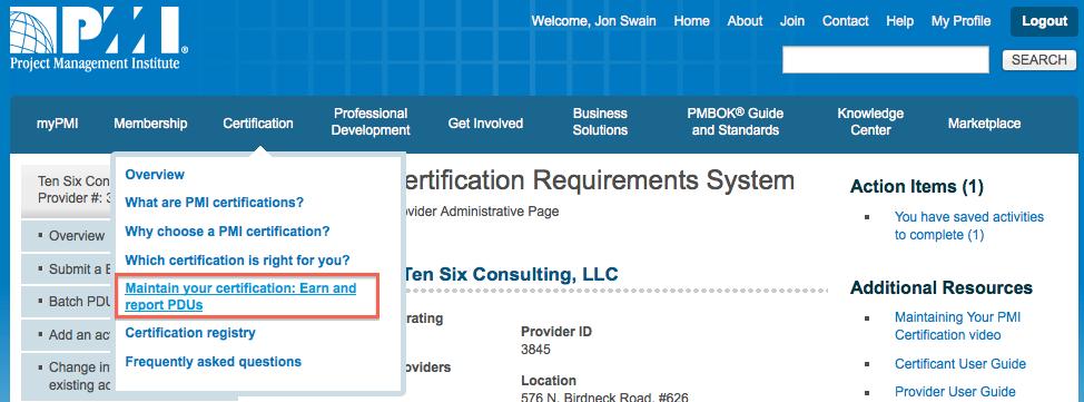 PDU Certification Tab