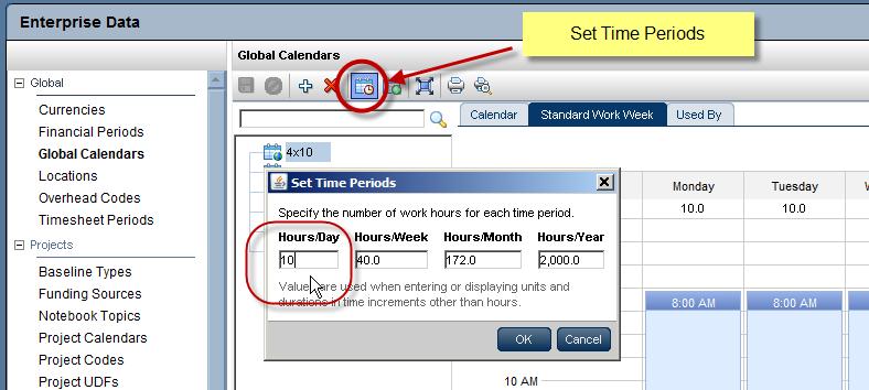 how to change default calendar in primavera p6