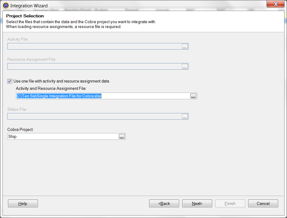 Deltek Cobra Import Single File Dialog