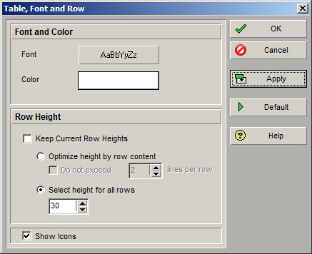 Fig 5 Row Height Dialog