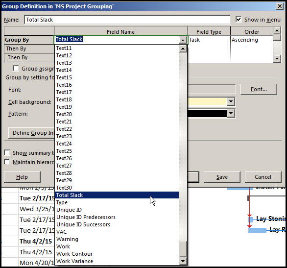 Grouping Tasks in Microsoft Project Fig 2