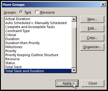 Grouping Tasks in Microsoft Project Fig 7