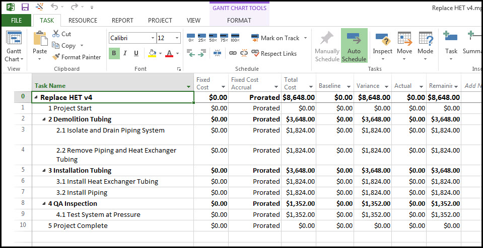 Assigning a project specific fixed price material expense for Table 6 fixed costs
