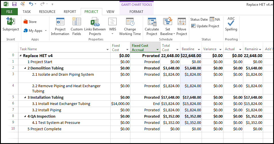 Fixed Price Material Expense Microsoft Project Fig 7