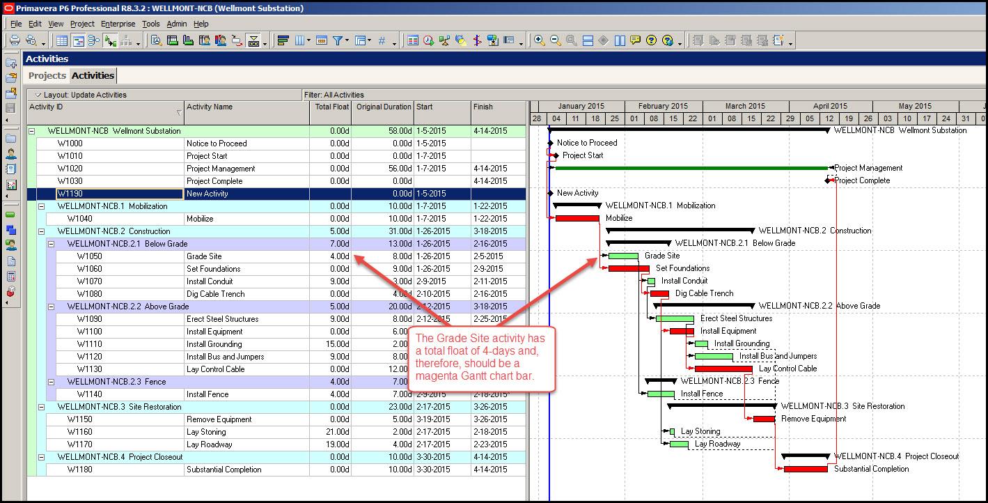 P6 Displaying Gantt Chart Bars Fig 3