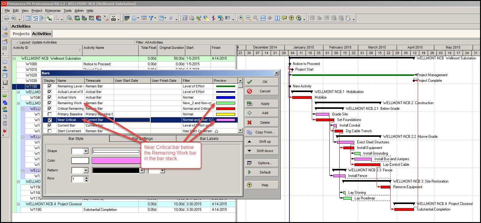 P6 Displaying Gantt Chart Bars Fig 6
