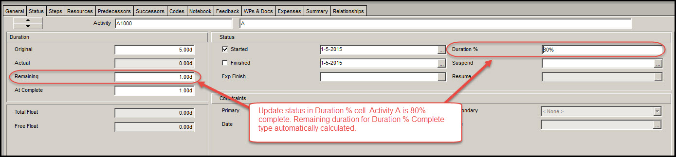 Updating Activities in Primavera P6 Fig 6