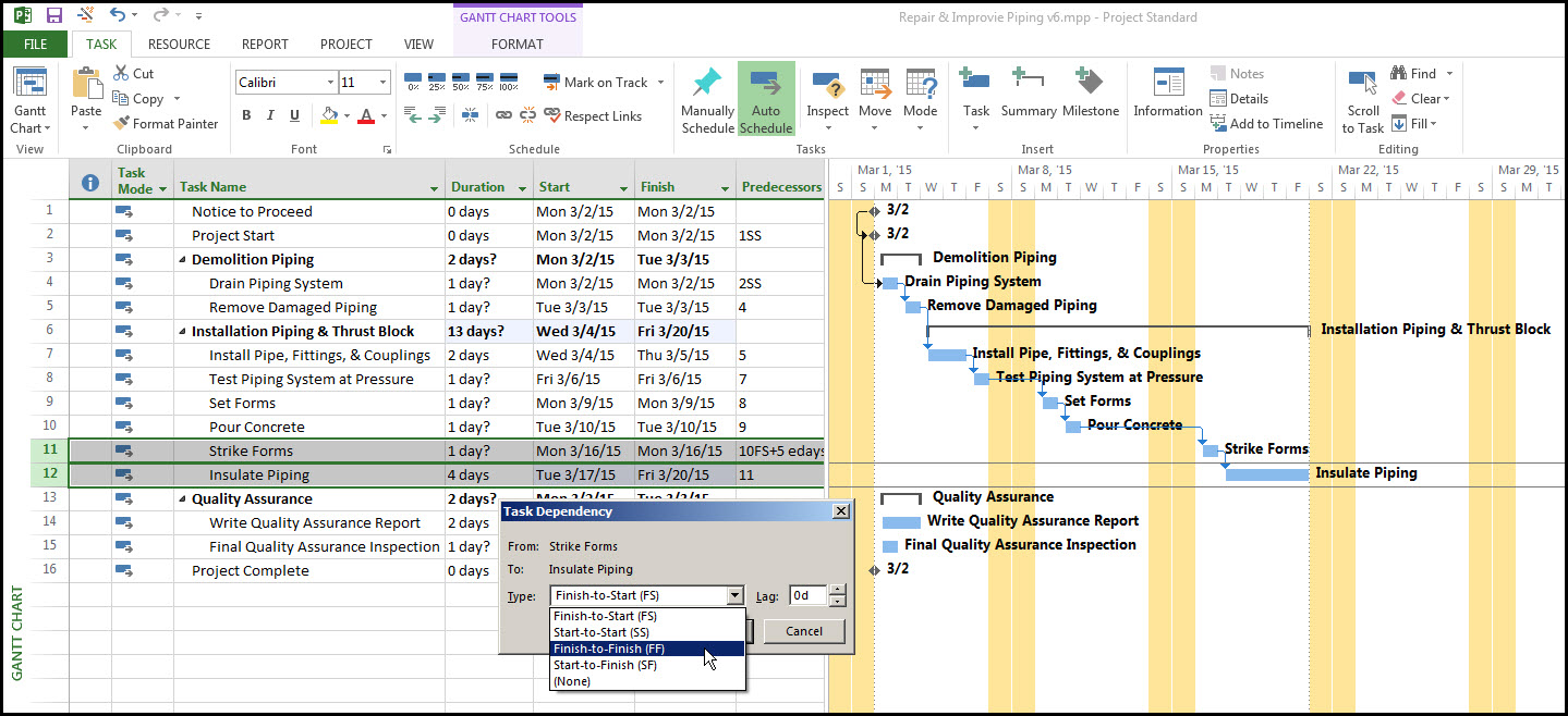 Microsoft Project Task RelationshipsFig 16