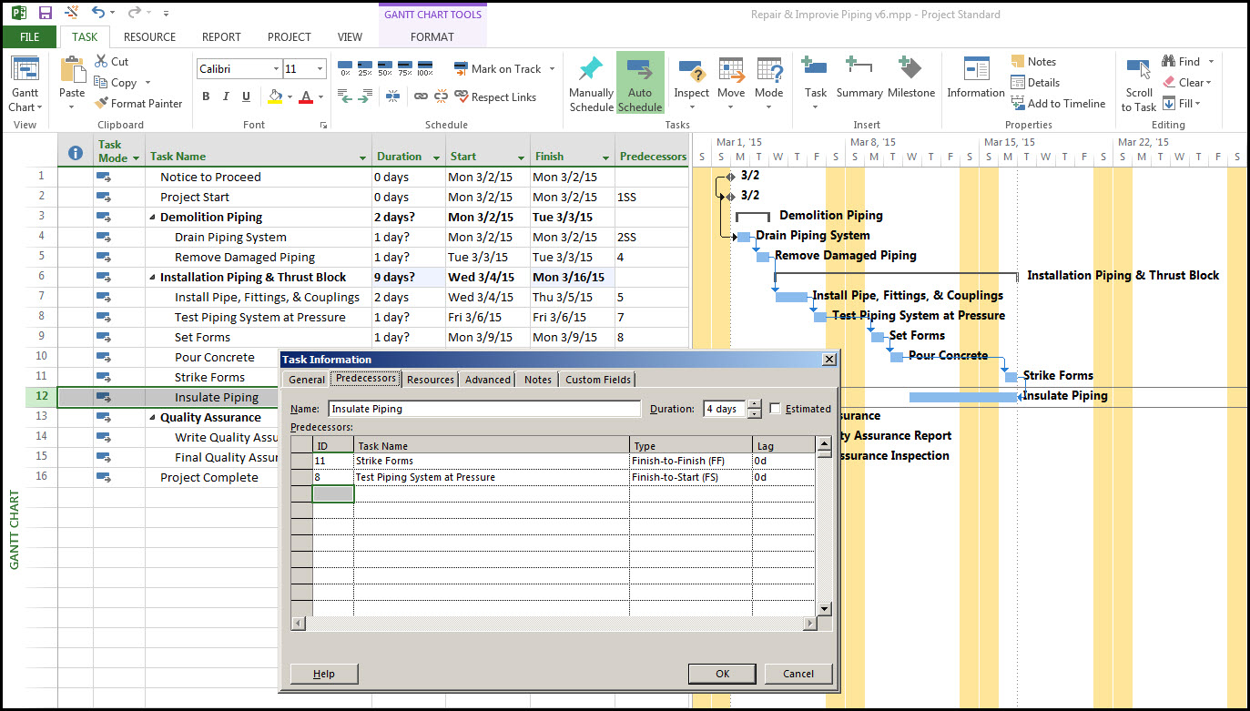 Microsoft Project Task RelationshipsFig 17