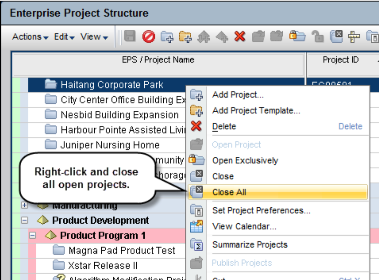 Close All Open Projects from the Right-Click Menu