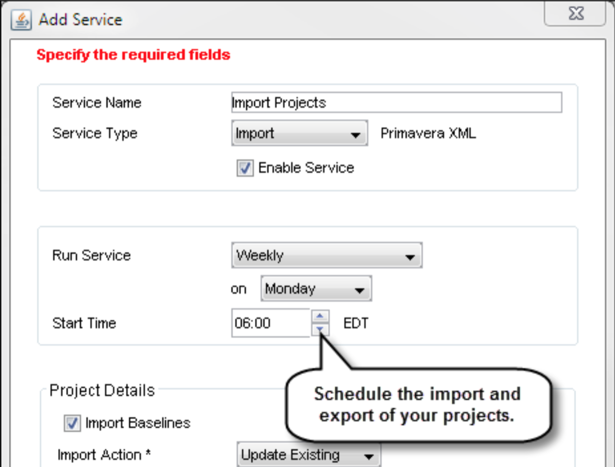 Import and Export as a Scheduled Service
