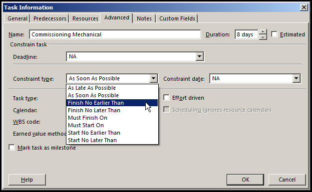 Microsoft Project Finish No Earlier Than Constraints Fig 3
