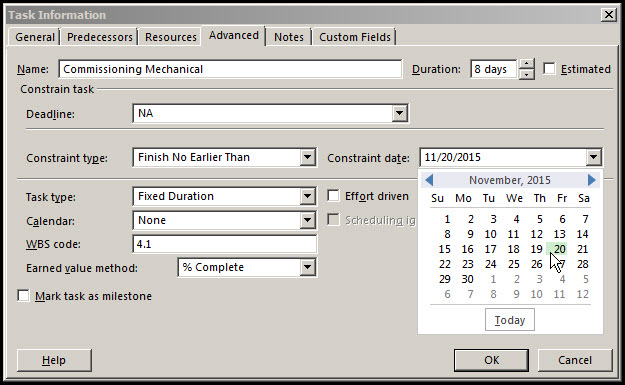 Microsoft Project Finish No Earlier Than Constraints Fig 4