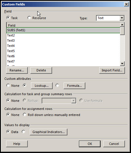 Microsoft Project Custom Fields to P6Fig 3