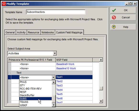Microsoft Project Custom Fields to P6Fig 7