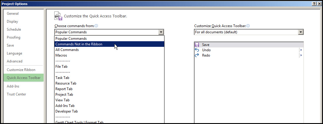 Microsoft Project Quick Access Toolbar Fig 6