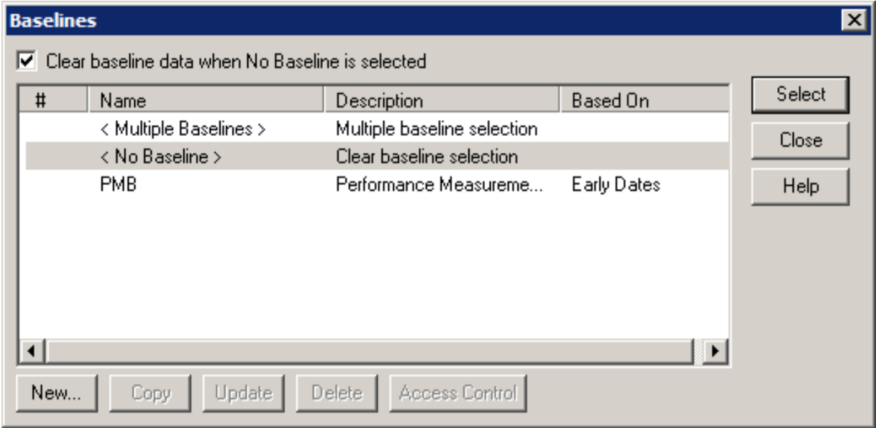 Open Plan Baselines Dialog Box