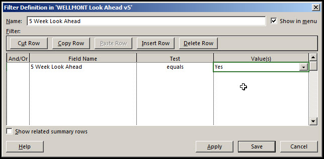 Microsoft Project Look Ahead Filter Fig 12