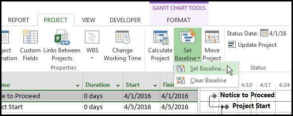 Two Gantt Chart Baselines in Microsoft Project Fig 2