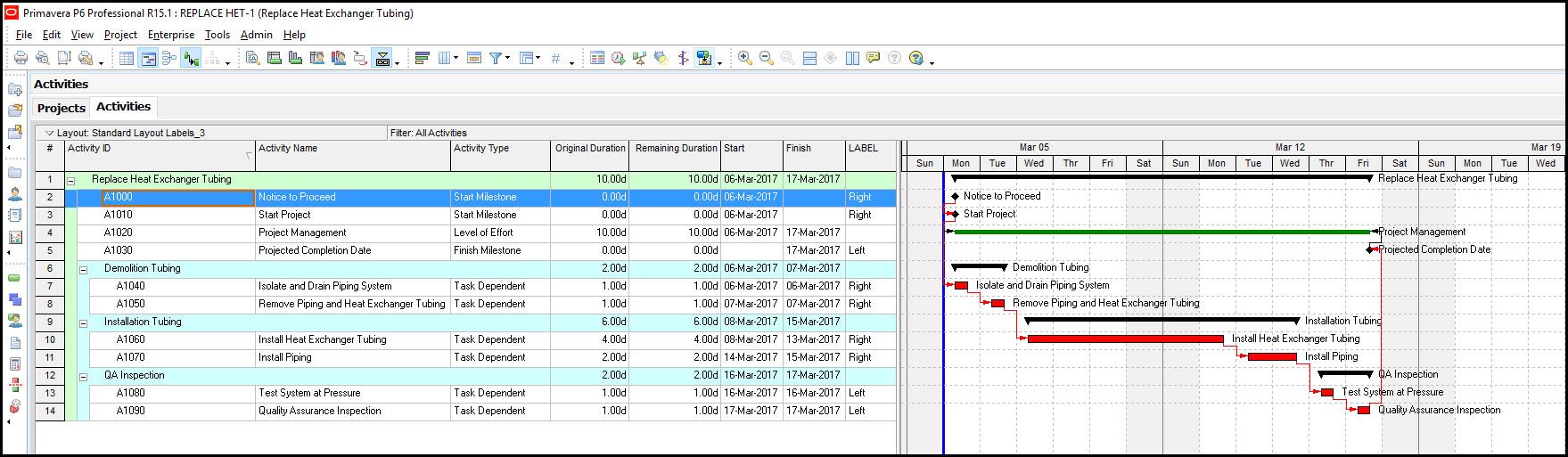 P6 Gantt Chart Activity Labels Timescale Compression Fig 4
