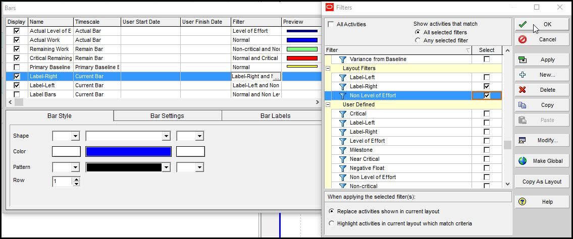 P6 Gantt Chart Activity Labels Timescale Compression Fig 8