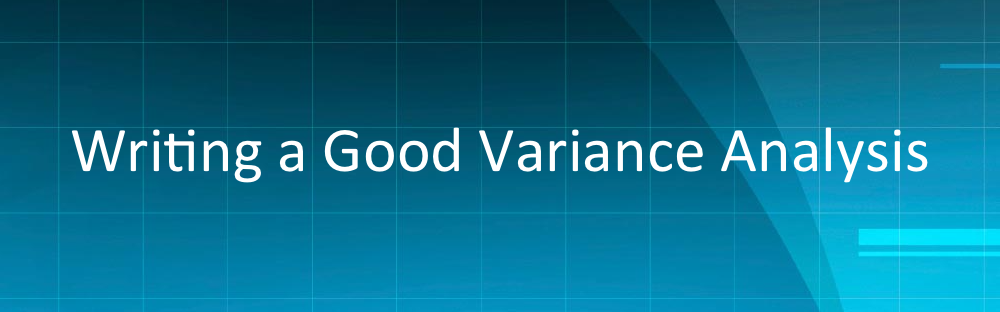 Writing a Good Variance Analysis1