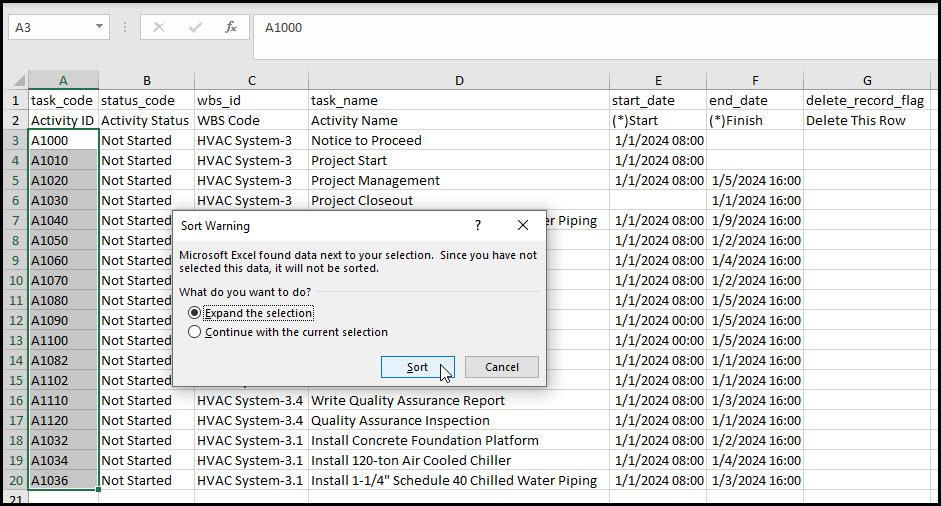 Sorting Activities in Excel