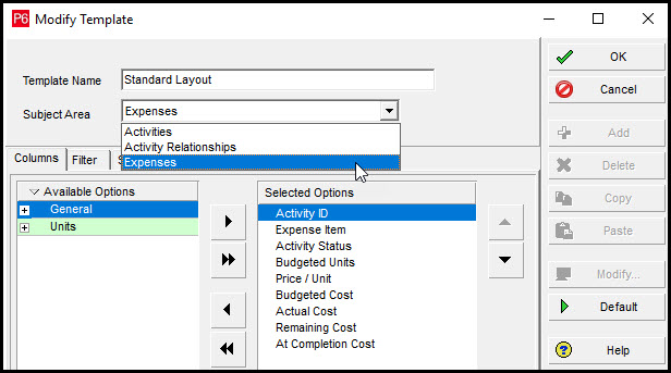 Selecting Export Options in P6