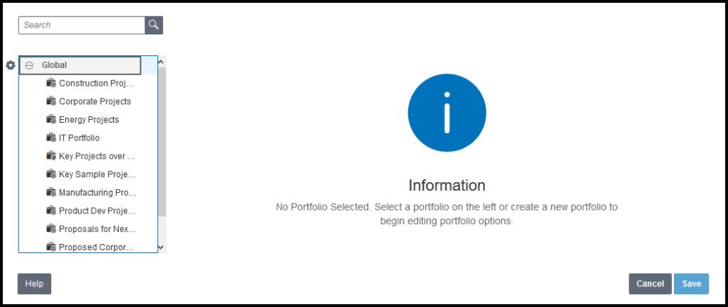 P6 EPPM portfolio management dialog