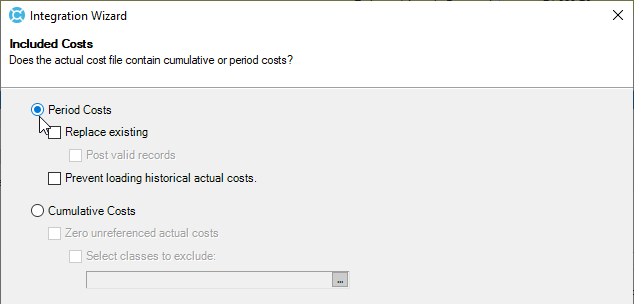 Period Costs option being set