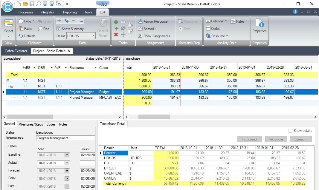 Deltek Cobra Set time-phase table to hours