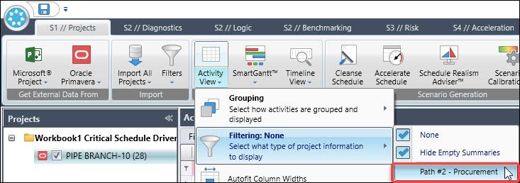 Acumen Activity View | Filtering