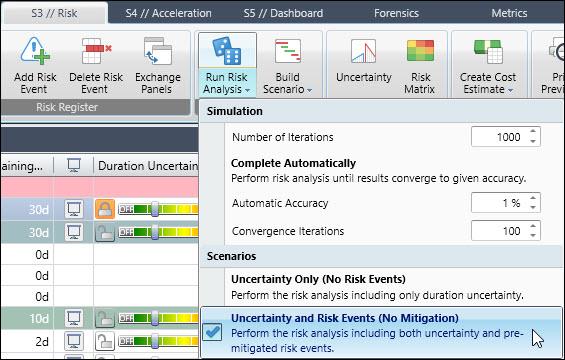 Acumen Run Risk Analysis scenario