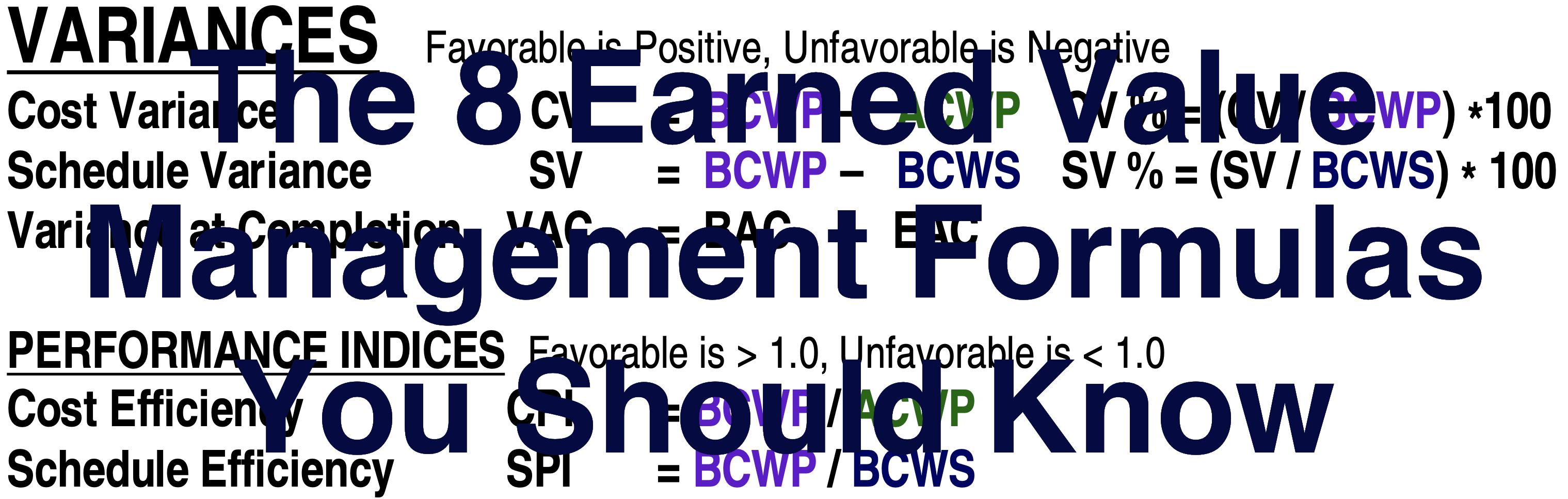 Earned Value Management Formulas
