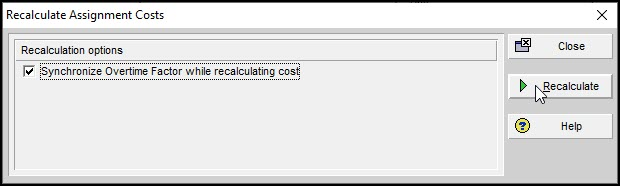 Recalculate Assignment Costs